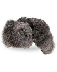 Crown Cap Real Rabbit Fur Lined Bomber Hat - Black