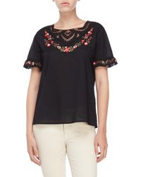 Karl Lagerfeld - Embroidered Ruffle Blouse - Lyst