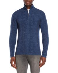 Qi - Cable Knit Quarter-zip Sweater - Lyst