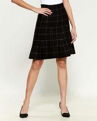 Max Studio Checker Print Sweater Skirt - Black