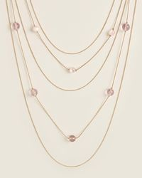 Catherine Stein Gold-tone & Pink Bead Necklace - Metallic