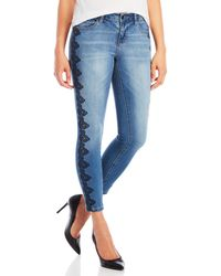 Earl Jean - Lace Embroidered Skinny Ankle Jeans - Lyst
