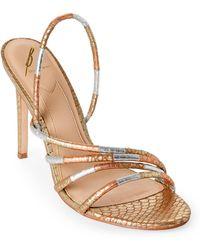 B Brian Atwood Metallic Fifi Snake Slingback Sandals
