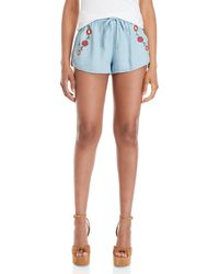 Mustard Seed Embroidered Chambray Shorts - Blue