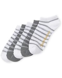 Juicy Couture 5-pack White & Gray Basic Stripes Socks