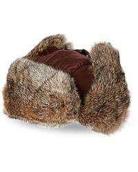 Crown Cap Real Rabbit Fur Lined Bomber Hat - Brown