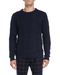 Barque - Navy Marled Cable Knit Sweater - Lyst