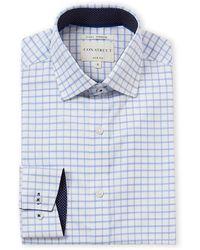 Con.struct White Windowpane 4-way Stretch Slim Fit Dress Shirt