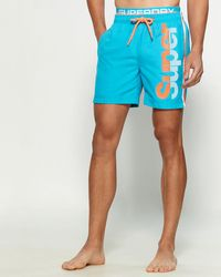 Superdry State Valley Double Layer Swim Trunks - Blue