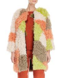 Blugirl Blumarine - Orange Color Block Kalgan Shearling Jacket - Lyst
