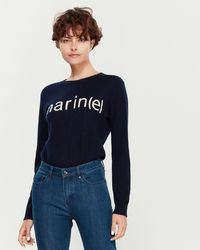 Le Mont St Michel Cashmere Marine Intarsia Long Sleeve Sweater - Blue