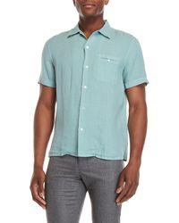 Luciano Barbera - Linen Short Sleeve Sport Shirt - Lyst