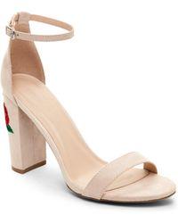 Wild Diva - Nude Morris Embroidered Block Heel Sandals - Lyst
