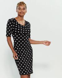fd8290db5 Connected Apparel Cowl Neck Polka Dot Print Dress