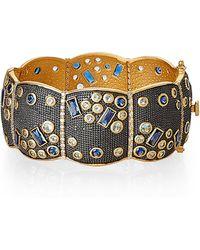 Freida Rothman - Gold-tone & Black Accented Wide Cuff Bracelet - Lyst