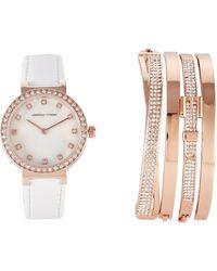 Adrienne Vittadini - Adst1582r165 Rose Gold-tone Watch & Bracelet Set - Lyst