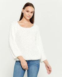 Pol Popcorn Knit Long Sleeve Crew Neck Sweater - White