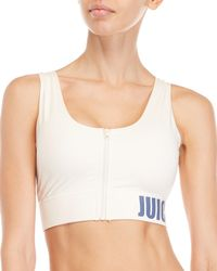 Juicy Couture - Pink Zip Front Sports Bra - Lyst