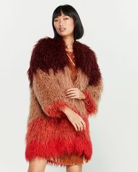 Ottod'Ame Color Block Faux Shearling Coat - Red