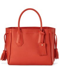 Longchamp Penelope Small Leather Tote - Red