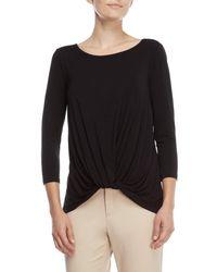c7120d30910e5 Lyst - August Silk Velvet Dot Mesh Bell Sleeve Top in Black