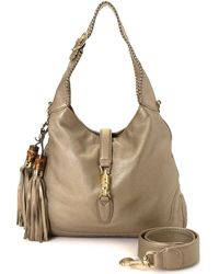 8963a4129bb Lyst - Gucci Jackie Nubuck Leather Shoulder Bag in Brown