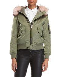 Sam. - Real Fur Trim Jenny Hooded Bomber - Lyst