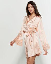 Cotton Club - Satin Lace Cuff Kimono - Lyst