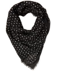 Saint Laurent - Black & Ivory Polka Dot Wool Scarf - Lyst