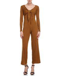 Derek Heart Striped Tie-front Jumpsuit - Brown