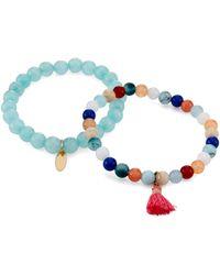 pannee by panacea Two-piece Beaded Stretch Bracelet Set - Blue