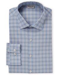 Kenneth Cole Reaction Ink Blue Check Slim Fit Dress Shirt