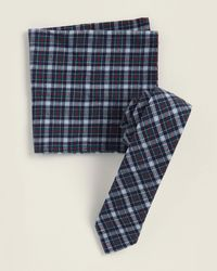 Original Penguin Two-piece Hanta Plaid Pattern Tie & Pocket Square Set - Blue