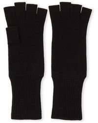 Portolano Cashmere Fingerless Gloves - Black