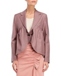Cedric Charlier - Red & Blue Check Ruffle Cropped Jacket - Lyst
