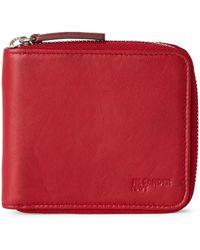 Jil Sander Navy Zip Around Wallet - Red