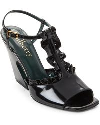 Mulberry - Black Ruffled Leather Flare Heel Sandals - Lyst