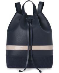 Mother Of Pearl Navy Wey Leather Bucket Backpack - Blue