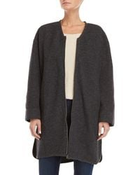 Le Mont St Michel V-neck Wool Coat - Gray
