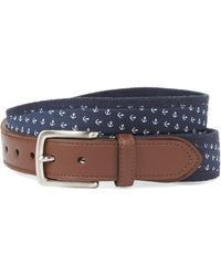 Nautica Navy Anchor Canvas Belt - Blue