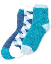 Ellen Tracy - 3-pack Checker Cozy Socks - Lyst