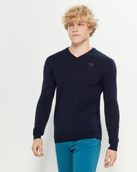 Versace Long Sleeve V-neck Wool Sweater - Blue