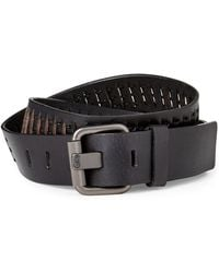 Calvin Klein - Black Textured Slit Leather Belt - Lyst