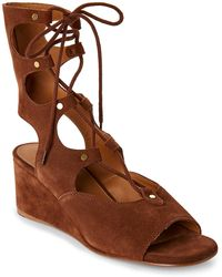 Chloé Foster Suede Lace-Up Wedge Sandals - Brown
