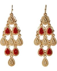 Catherine Stein - Gold-Tone & Coral Chandelier Earrings - Lyst