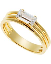 Kacey K - 14K Gold-Plated Three-Wire Ring - Lyst