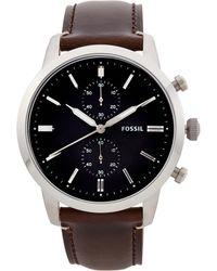 Fossil - Fs5280 Silver-tone & Brown Townsman Watch - Lyst