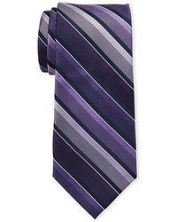 Isaac Mizrahi New York - Navy & Purple Stripe Silk Tie - Lyst