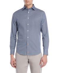 8d5fa93946 Thomas Dean - Blue Geo Print Sport Shirt - Lyst