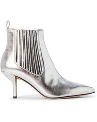 Diane von Furstenberg Silver Mollo Metallic Ankle Booties
